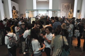 crowds around Rosetta Stone, British Museum - image © Stephanie Pearson