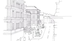 Artist's sketch of new Chambers Street piazza - image © National Museums Scotland